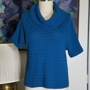 Blue Caslon Short Sleeve Cowl Neck Sweater Size PS